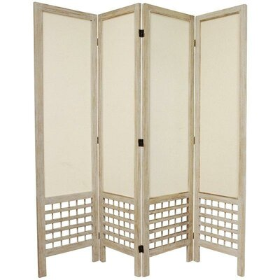 Oriental Furniture Open Lattice Fabric Room Divider in Burnt White