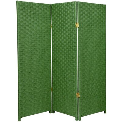 Oriental Furniture 4Feet Tall Woven Fiber Room Divider Light with Three Panel in Green