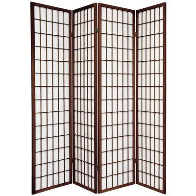 Oriental Furniture Window Pane Shoji Screen in Walnut
