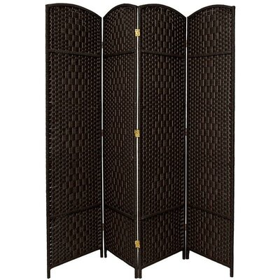 Oriental Furniture Diamond Weave 4 Panel Room Divider in Black
