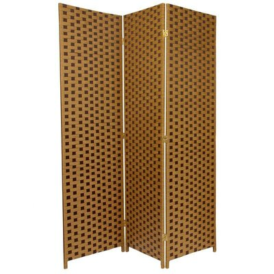 Oriental Furniture Woven Fiber 3 Panel Room Divider in Brown and Tan