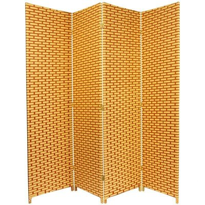 Oriental Furniture Woven Fiber 4 Panel Room Divider in Natural and Reddish Brown