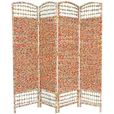 "Oriental Furniture 67"" Recycled Magazine 4 Panel Room Divider"