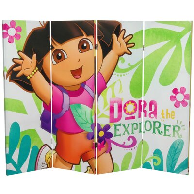 Oriental Furniture Tall Double Sided Dora the Explorer Canvas Room Divider