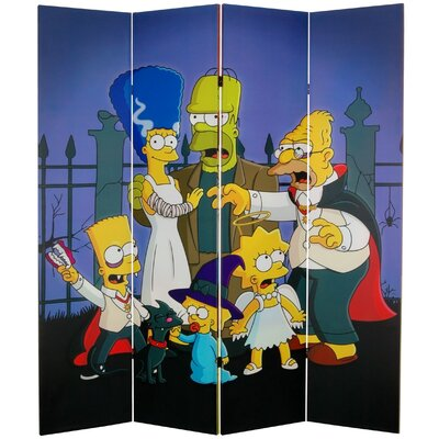 Oriental Furniture Tall Double Sided Team Simpsons Canvas Room Divider