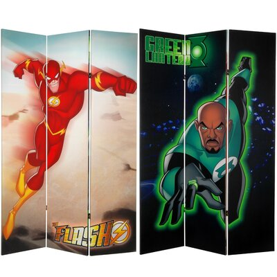 Oriental Furniture Tall Double Sided Green Lantern and The Flash Canvas Room Divider