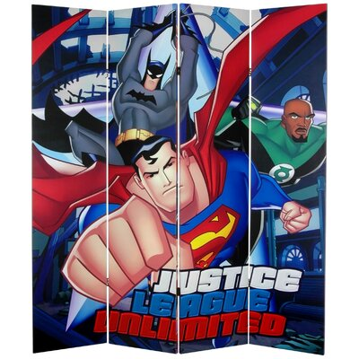 Oriental Furniture Tall Double Sided Justice League Unlimited Canvas Room Divider