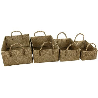 Oriental Furniture Hand Plaited Basket Bin with Handles (Set of 4)