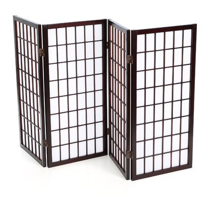 3 Feet Tall Window Pane Shoji Screen in Walnut