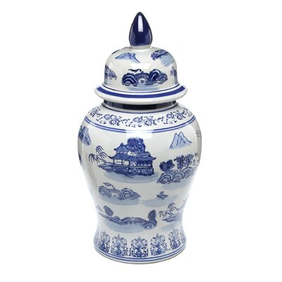Temple Jar with Blue Landscape Design in White