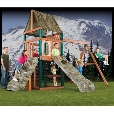 "Swing-n-Slide 132"" x 180"" Real Tree Sportsman Wood Complete Swing Set"
