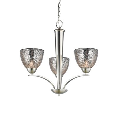 Woodbridge Lighting North Bay 3 Light Chandelier with Mosaic Bell Glass
