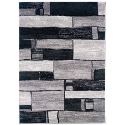 Adana Charcoal/Grey Oblong Blocks Rug