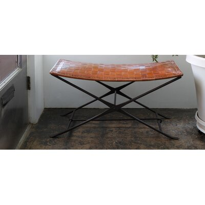 CG Sparks Woven Leather and Iron Entryway Bench