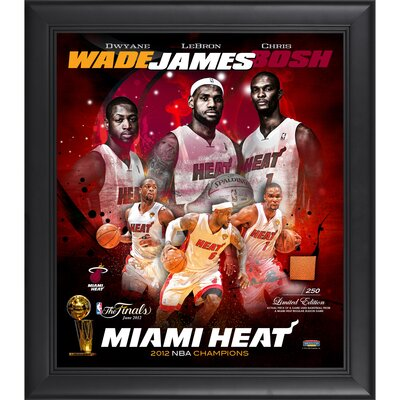 Mounted Memories LeBron James, Dwyane Wade and Chris Bosh Miami Heat 2012 NBA Champions Framed Collage with Game-Used Basketball