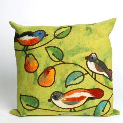 Liora Manne Song Birds Square Indoor/Outdoor Pillow in Green