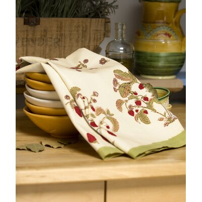 Couleur Nature Strawberry Red Green Tea Towel (Set of 3)