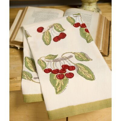 Cherry Red Green Tea Towel (Set of 3)