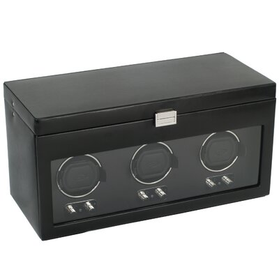 Wolf Designs Heritage Module 2.1 Triple Watch Winder with Cover and Watch Storage in Black