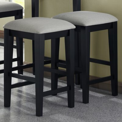 Barstools with Grey Fabric Seat in Black Grain (Set of 2)