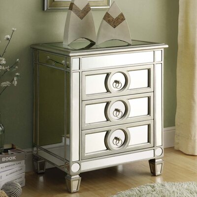 Monarch Specialties Inc. Mirrored 3 Drawer Accent Table