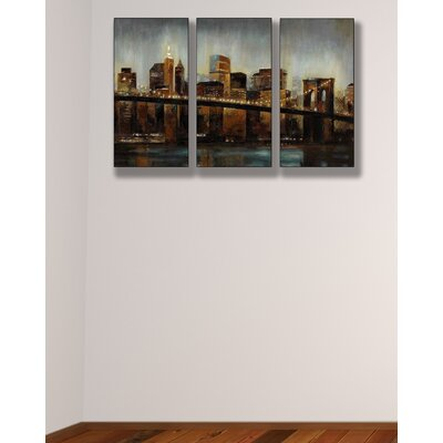 Stupell Industries Lights on Bridge Triptych Wall Art