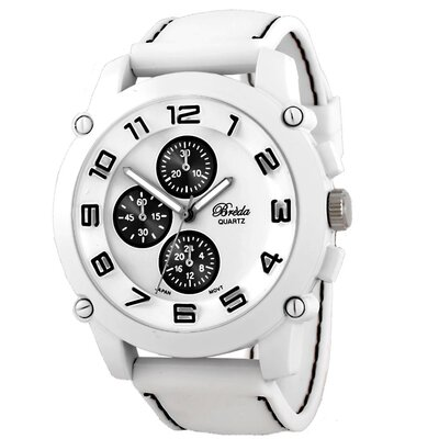 "Breda Men""s Colton Black Accented Band Watch in White"