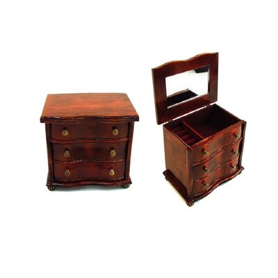 Antique Jewelry Box in Distressed Antique Brown