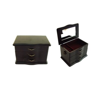 Antique Jewelry Box with Mirror in Distressed Antique Ebony