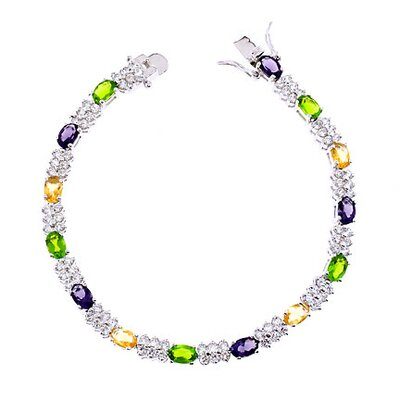 Oval Link Multi-Gemstone Diamond Bracelet