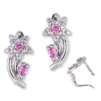 CZ Collections Stem Flower Gemstone Diamond (.925) Sterling Silver Earrings