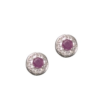 CZ Collections Gemstone Stud Rhodium Plated (.925) Sterling Silver Earrings