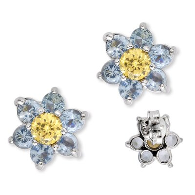 Round Simulated Blue Topaz Canary Center Flower Stud Earrings