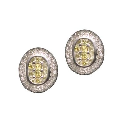 Yellow Citrine Oval Square Rhodium Plated Earrings