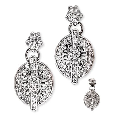 CZ Collections Floral Lacy Diamond Oval Sterling Silver Earrings