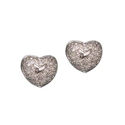 Two Tone Pave Heart X Rhodium Plated Earrings