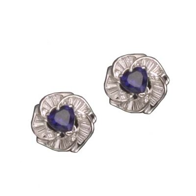 CZ Collections Triangle Sapphire Post Rhodium Plated Earrings