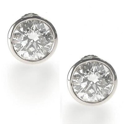 CZ Collections Clear 4 CT TW Bezel Set Earrings Studs