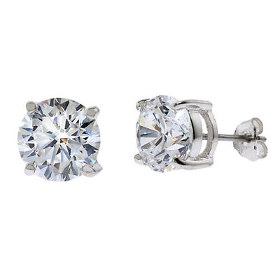 CZ Collections 10 CT TW cubic zirconia Diamond Stud Earrings