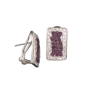 Gemstone Square Rhodium Plated Earrings
