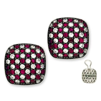 CZ Collections Genuine Ruby Checkerboard Square Earrings