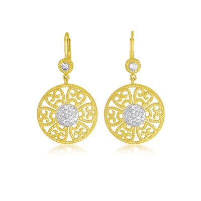 Two Tone Round Euro Wire Earrings