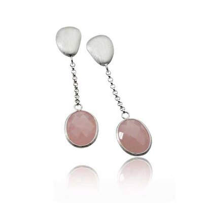 Gem Rose Quartz Matte Dangling Earrings