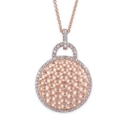 Round Hammered Fashion Rose Plated Sterling Silver Pendant