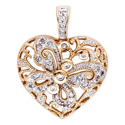 CZ Collections Vintage Two Tone Braided Heart Sterling Silver Pendant