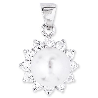 CZ Collections Faux Pearl with Round Diamond Pendant