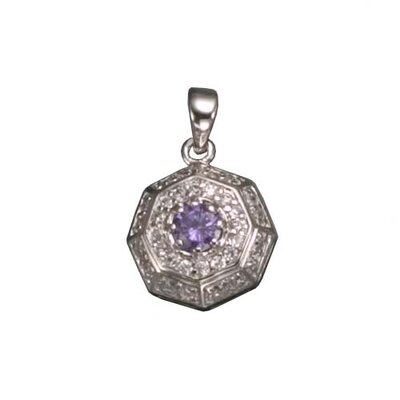 CZ Collections Amethyst Rhodium Plated Pendant