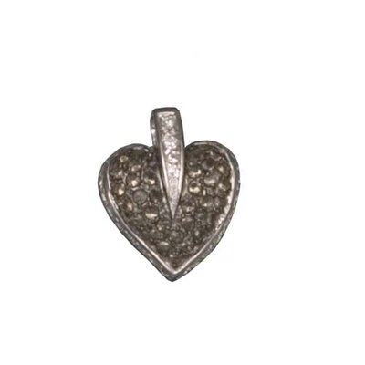 CZ Collections Rhodium Plated (.925) Sterling Silver Pendant in Coffee