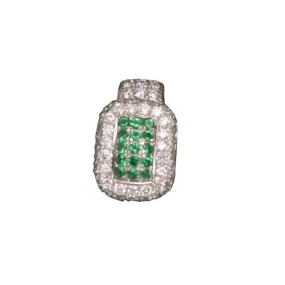 CZ Collections Emerald Rhodium Plated (.925) Sterling Silver Pendant