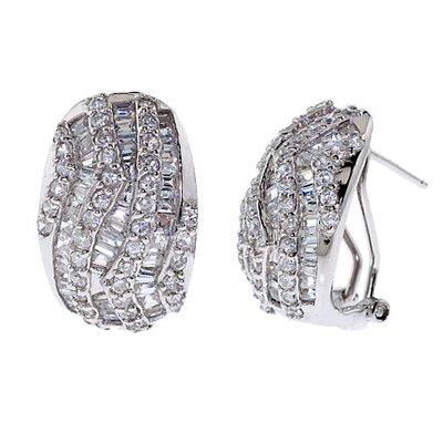 Bridal Round Baguette Cubic Zirconia Diamond Clip Earrings
